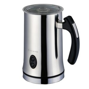 Ovente 1.25-Cup Chrome Electric Double Wall Stainless Steel Milk Frother, Frothing & Heating Whisks, Espresso Machine Latte