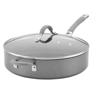 Circulon Elementum 5 qt. Hard-Anodized Aluminum Nonstick Saute Pan in Oyster Gray with Glass Lid