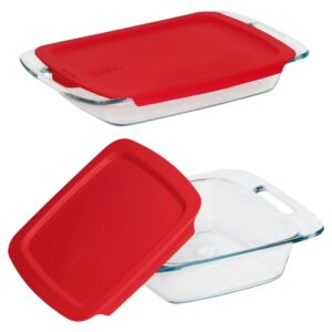 Pyrex Easy Grab 3 qt. and 8 in. x 8 in. 4-Piece Glass Bakeware Set with Red Lids
