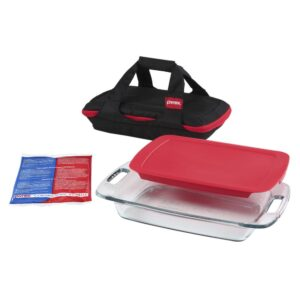 Pyrex Easy Grab 4-Piece Portable Glass Bakeware Set with Red Lid
