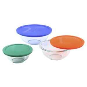 Pyrex Smart Essentials 6-Piece Glass Mixing Bowl Set with Assorted Colored Lids