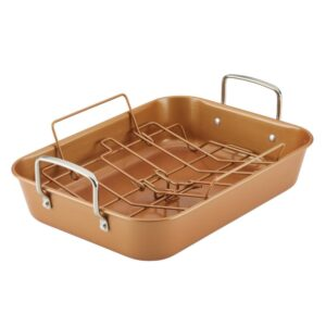 Ayesha Curry Ayesha Bakeware Nonstick Roaster with Convertible Rack, 11-Inch x 15-Inch, Copper