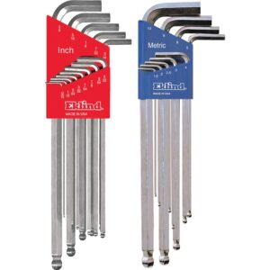Eklind Combination Bright Ball-Hex-L Key Set Sizes 0.050 in. to 3/8 in. and Size 1.5 mm to 10 mm (22-Piece)