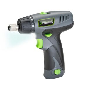 Genesis 8-Volt Lithium-Ion Cordless Quick-Change 2-Speed Screwdriver with LED Work Light, Battery Pack, Charger and 8 Bits
