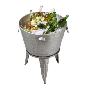 Glitzhome 26.29 in. H Gray Galvanized Beverage Tub with Metal Stand or Accent Table with Firwood Lid