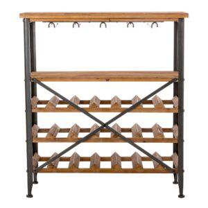 Glitzhome 34.25 in. H Vintage Floor Wine Bottle and Glass Rack