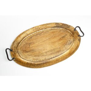 Abigails Gold Oval Metal Tray, Small