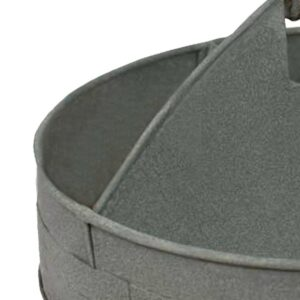 Benzara Galvanized Divided Gray Serving Tray with Wood Handle