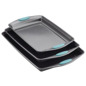 Rachael Ray 3-Piece Gray Nonstick Bakeware Cookie Pan Set with Agave Blue Silicone Grips