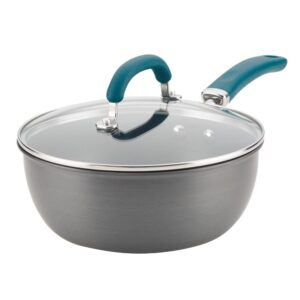 Rachael Ray Create Delicious 10 in. Hard-Anodized Aluminum Nonstick Skillet in Gray With Teal Handles with Glass Lid