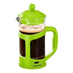 Ovente 8-Cup Green French Press Cafetire Heat-Resistant Borosilicate Glass Coffee and Tea Maker FREE Measuring Scoop