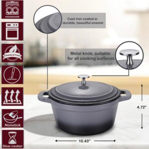 AMERCOOK LA PLURIEL 3 qt. Round Enameled Cast Iron Casserole Dish in Gray with Lid