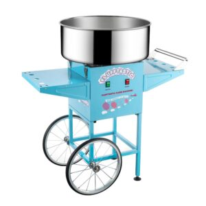 Great Northern Blue Flufftastic Commercial Cotton Candy Machine with Cart