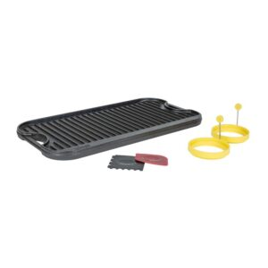Lodge 5-Piece Black Cast Iron Reversible Stovetop Griddle Set with Egg Rings
