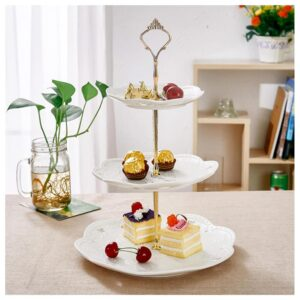 MALACASA 3-Tiered White Cupcake Tower Stand Porcelain Tiered Serving Stand Round Dessert Stand