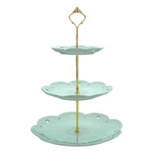 MALACASA 3-Tiered Green Cupcake Tower Stand Porcelain Round Tiered Serving Stand for Dessert Cake
