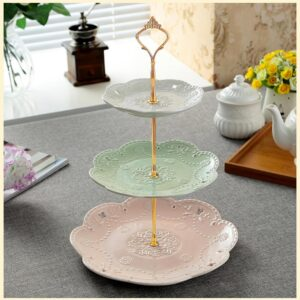 MALACASA 3-Tiered Assorted Colors Cupcake Tower Stand Porcelain Round Tiered Serving Stand