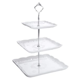 MALACASA 3-Tiered White Cupcake Tower Stand Square Tiered Serving Tray Dessert Stand