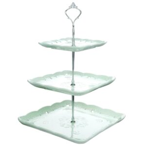 MALACASA 3-Tiered Green Cupcake Tower Stand Square Tiered Dessert Stand Serving Tray