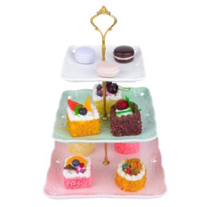 MALACASA 3-Tiered Assorted Colors Cupcake Tower Stand Square Tiered Dessert Stand Serving Tray