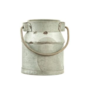 3R Studios 2 in. W x 1.5 in. H Silver Galvanized Metal Vintage Milk Can Shaped Napkin Rings (Set of 4)