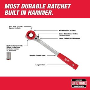 Milwaukee Lineman's High Leverage Ratcheting Wrench with Milled Strike Face