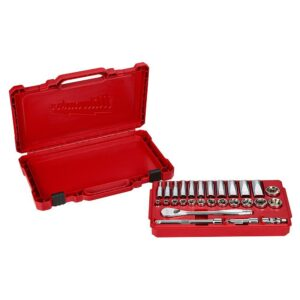Milwaukee 1/4 in. and 3/8 in. Drive SAE Ratchet and Socket Mechanics Tool Set (54-Piece)