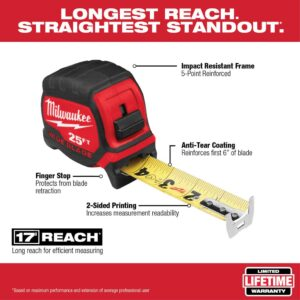 Milwaukee 30 ft. x 1.3 in. Wide Blade Tape Measure with 17 ft. Reach