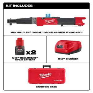 Milwaukee M12 FUEL ONE-KEY 12-Volt Lithium-Ion Brushless Cordless 1/2 in. Digital Torque Wrench Kit with Two 2.0 Ah Batteries