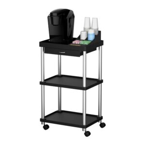 Mind Reader 3-Tier 7-Compartment Rolling Black Coffee Cart