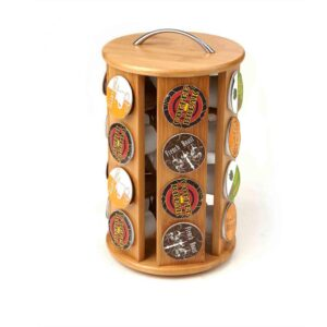 Mind Reader 24-Capacity Bamboo K-Cup Storage Organizer and Coffee Pod Carousel