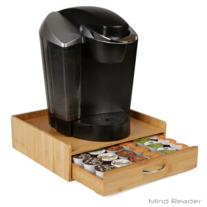Mind Reader 32-Capacity Bamboo Brown K-Cup Storage Drawer with Lip Panel