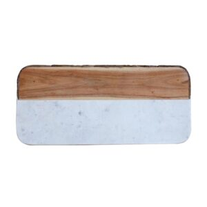 3R Studios Oval 15.5 in. Mango Wood and Marble Cheese Board