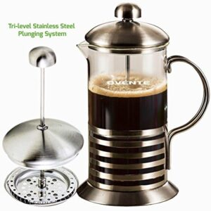 Ovente 8-Cup Nickel Brushed French Press, Coffee and Tea Maker High-Grade Stainless Steel and Free Measuring Scoop