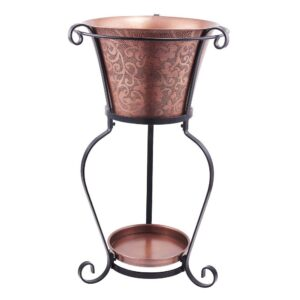 Old Dutch 19-3/4 in. x 32 in. Solid Cooper Etched Beverage Tub with Stand