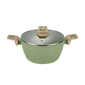 AMERCOOK Olive Stone 3 qt. Round Casserole Dish in Avocado Green with Glass Lid