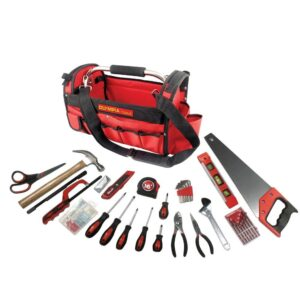 OLYMPIA Multi-Purpose Tool Set with Bag, Red (52-Piece)