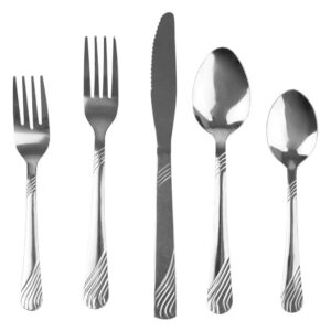 Home Basics River 20-Piece Stainless Steel Flatware Set