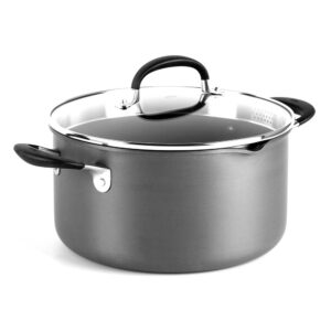 OXO Good Grips 6 qt. Hard-Anodized Aluminum Nonstick Stock Pot in Gray with Glass Lid