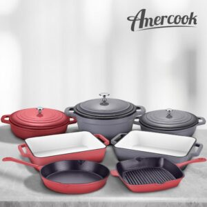 AMERCOOK LA PLURIEL 3 qt. Round Enameled Cast Iron Casserole Pan in Red with Lid