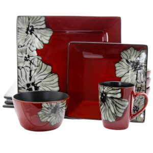 Elama Winter Bloom 16-Piece Asian Inspired Red Earthenware Dinnerware Set (Service for 4)