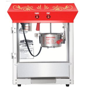 Great Northern 4 oz. Red Stainless Steel Foundation Popcorn Machine Top