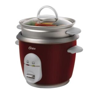 Oster 6-Cup Red Rice Cooker with Steaming Tray, Measuring Cup and Rice Paddle