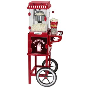 West Bend Popcorn Cart 2.5 oz Non-Stick Stainless Steel Kettle, Makes 10 Cups, Cabinet Built-In Light, with Spoon & Scoop
