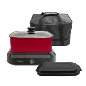 West Bend 5 qt. Red Non-Stick Versatility Slow Cooker with 5-Temperature Settings Includes Travel Lid and Thermal Tote