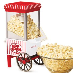 Nostalgia Old Fashioned 1040 W 12-Cup Red Hot Air Popcorn Maker with Measuring Cup