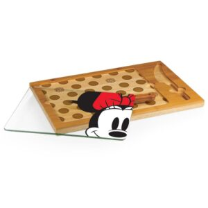 TOSCANA 15.4 in. Minnie Mouse Icon Glass Top Serving Tray and Knife Set