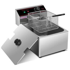 Costway 6.3 qt. Silver Deep Fryer with Multiple Safety
