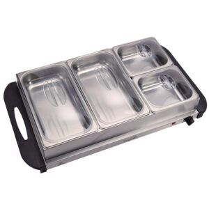 MegaChef 2.5 L Stainless Steel Warming Tray with 4 Crocks