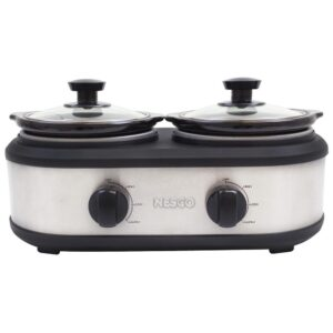 Nesco 2.5 Qt. Stainless Steel Slow Cooker with Removable Cookwells
